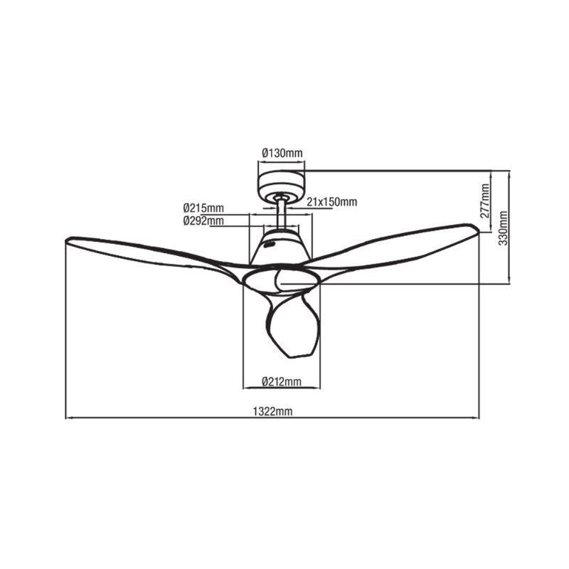 Ventilador de techo sin luz negro ECOFAN Leroy - 132cm / AC / Diseño elegante