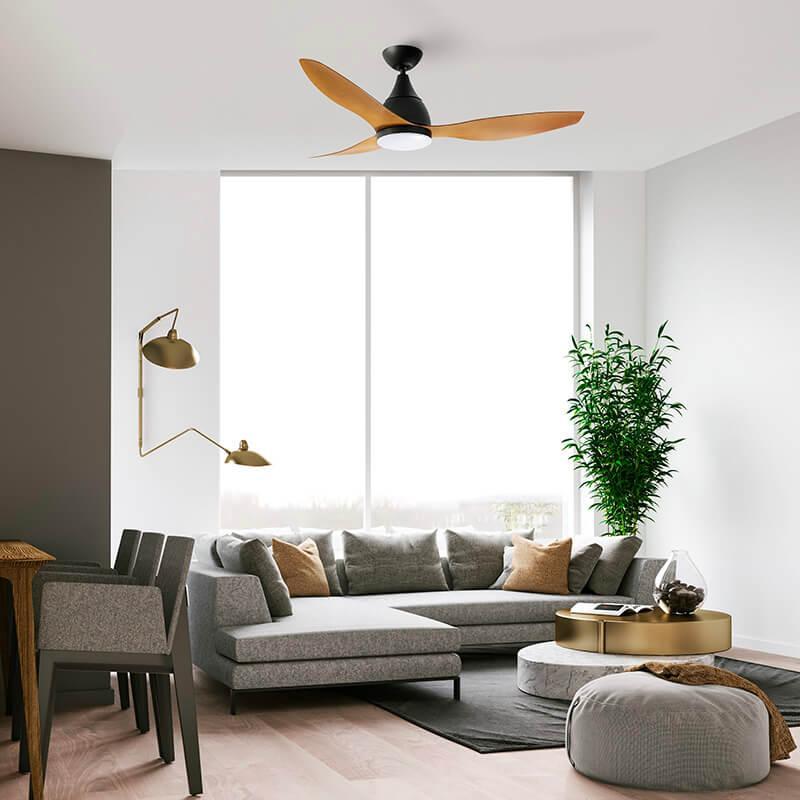 Ventilador de techo con luz madera ECOFAN Traffic - 120cm / AC / Diseño compacto