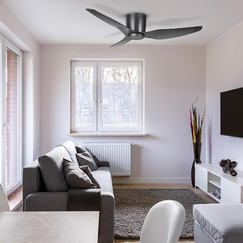 Ventilador de techo sin luz negro ECOFAN Kobe - AC / 127cm / Techos bajos