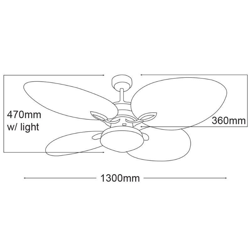 Ventilador de techo con luz ECOFAN Tropical - 132cm / AC / Estilo colonial