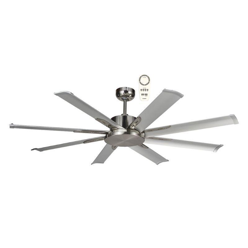 Ventilador de techo grande ECOFAN Nord - 165cm / DC / Gran caudal de aire / Plateado